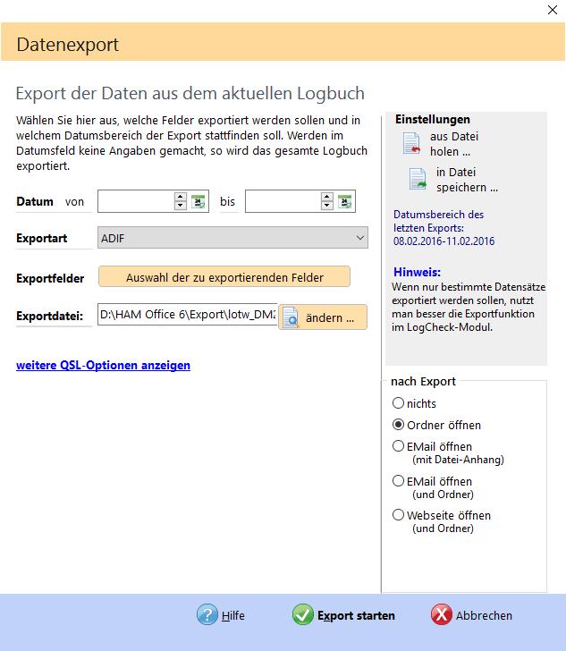 Funktionen nach Export