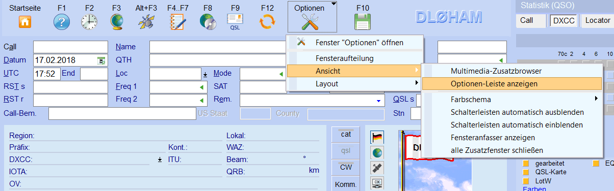 ADIF-Schalter einblenden