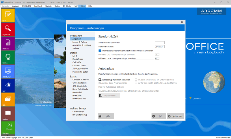 Fenster im Windows-10-Layout Hamoffice mein Amateurfunk Logbuch
