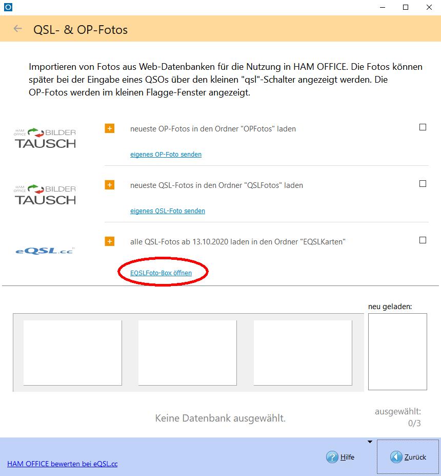 Aufruf der eQSLFoto-Box durch Klick auf den Link im Web-QSO-Austausch-Fenster.