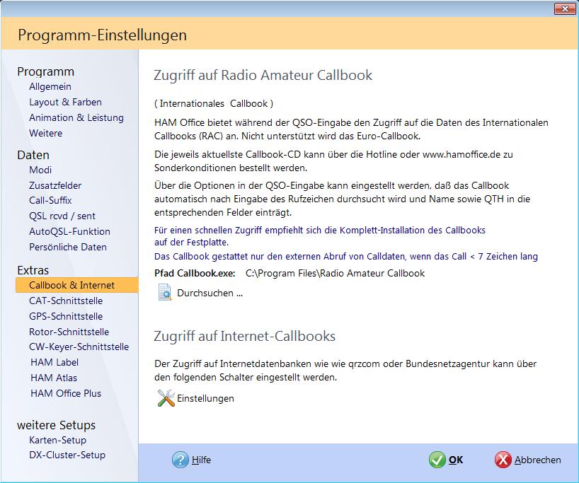 Programmoptionen Webzugriff Hamoffice mein Amateurfunk Logbuch